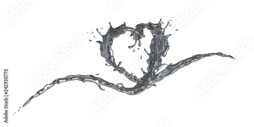 Wave splash liquid chrome silver in form of heart shape isolated on white background, concept for love or valentine. 3D illustration.