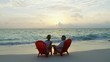 Happy retired senior American couple relaxing Bahamas vacation