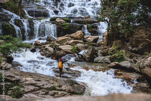 Travel relax to visit the waterfalls of couples. In the winter. at the waterfall mae ya chiangmai. travel nature. summer.