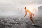 Athlete man running race. Mixed media - 242940518