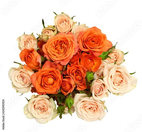 Round bouquet of orange and peach rose flowers