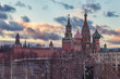 Moscow Kremlin and St Basil's Cathedral sunset view with beautiful cloudy sky