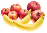 Ripe bananas and apple other fruits on white background