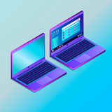 Colored futuristic laptop in isometry vector illustration - 242953314