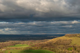 Beautiful Autumn Fall landscape of South Downs National Park in English countryside in late afternoon light - 242956724
