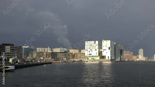 Panoramic view of the buildings in harbor of Amsterdam, Netherlands