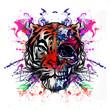 Кра�очные ри�ованной тигрова� морда на аб�трактный кра�очный фон