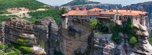 Leinwandbild Motiv Summer rocky Meteora monasteries, Greece