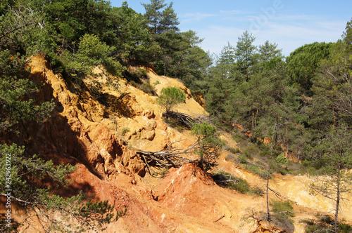Les ocres du ravin de Fougeras à Dions dans le Gard, Occitanie