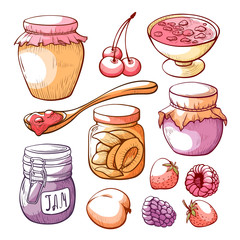 Fruit and berry jam hand drawn set © Vikivector