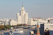 The Stalin's skyscraper at Kotelnicheskaya embankment and city panorama in Moscow