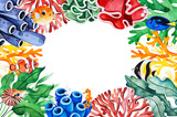 Underwater creatures frame border with multicolored corals,seaweeds,fish,seahorse and more.Perfect for invitations,party decorations,printable,craft project,greeting cards,Birthday etc. - 242968977