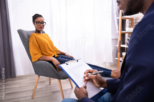 Woman Visiting Psychologist To Treat Depression