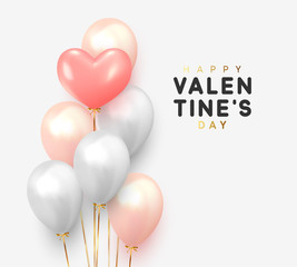 Happy Valentines Day. Realistic Balloons group in shape heart with gold ribbon. 3d ballon isolated on white background. Romantic poster, greeting cards, headers, website. © lauritta