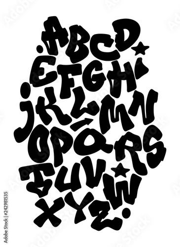 Graffiti hand lettering alphabet. Vector font