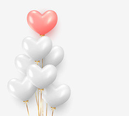 Balloons group realistic in shape heart with gold ribbon. 3d ballon isolated on white background © lauritta