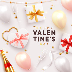 Valentines Day banner. Background realistic gifts box shape heart, balloons, glitter gold confetti and tinsel, champagne bottle and wine glass. Holiday poster, greeting cards, headers, website © lauritta