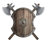 Wooden medieval shield with crossed battle axes 3d illustration - 242982725