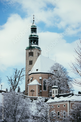 Snowy church in Salzburg, Müllnerkirche