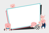 Pigs cartoon character frame design with space text. Vector illustration