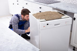 Technician Repairing Dishwasher - 242986909