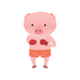 Vector pig cartoon character boxing  isolated on white background. Cartoon emotions