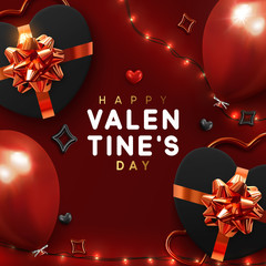 Valentines Day banner. Background stylish design of sparkling lights garland, realistic gifts box with heart shaped, red balloon. Holiday poster, greeting card, header, website © lauritta