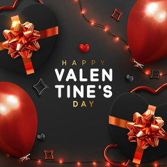 Valentines Day banner. Background design of sparkling lights garland, realistic gifts box with heart shaped, red balloon. Holiday poster, greeting card, header, website. stylish pattern in black color © lauritta