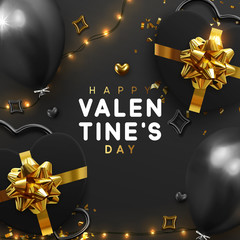Valentines Day banner. Background design of sparkling lights garland, realistic gifts box with heart shaped, black balloon and glitter gold confetti. Holiday poster, greeting cards, headers, website © lauritta