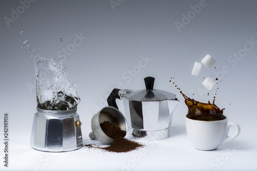 lively sequence of coffee preparation with Italian coffee maker.