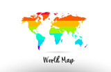 World Map country flag inside map contour design icon logo