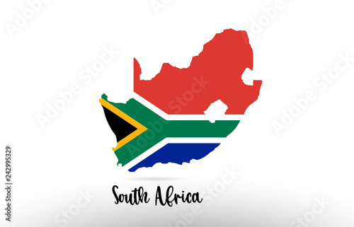South Africa country flag inside map contour design icon logo