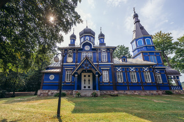 Traaditional wooden Orthodox church of Protection of the Mother of God in Puchly, small village in Podlasie region of Poland