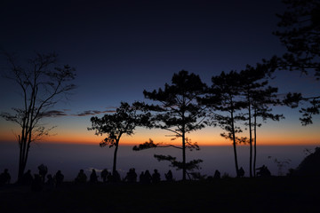 Image of sunrise on orange and yellow horizon with people's silhouette surrounded by pine trees ( Phu kradueng Thailand ) © amenic181