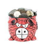 Ceramic pot full of hong kong coins - 243001562