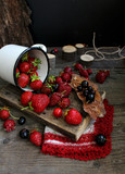berry strawberry rustic wood
