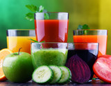 Glasses with fresh organic vegetable and fruit juices - 243002741