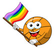 basketball ball cartoon funny character multicolor rainbow peace flag isolated - 243003950