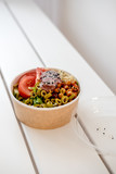 Take away salad in disposable paper bowl - 243006912