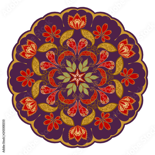 Decorative floral ornament in East style. Mandala. - 243008350