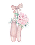 Ballet pointe shoes with flower. Hand drawn illustration. Fashion art print - 243008767