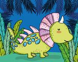 Fototapeta Dinusie - styracosaurus prehistoric dino animal with plants © Stockgiu