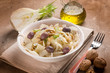 fennel salad with parmesan cheese flakes black olives and nuts - 243014362