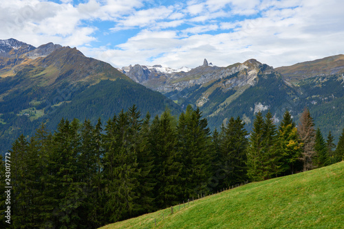 Mountain landscape near Wengen village in Switzerland.