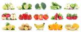 Früchte Obst und Gemüse Sammlung Apfel Bananen Erdbeeren Farben frische Freisteller freigestellt isoliert