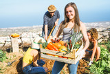 Group of friends working together in a farm house - Happy young woman holding fruit crate with fresh vegetables in the garden house - Agriculture, healthy food and vegetarian lifestyle concept - 243022136