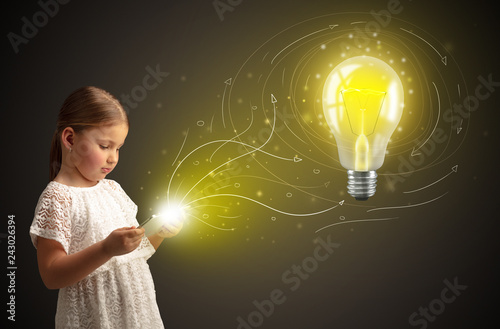Foto Murales Adorable girl working on tablet with new idea concept