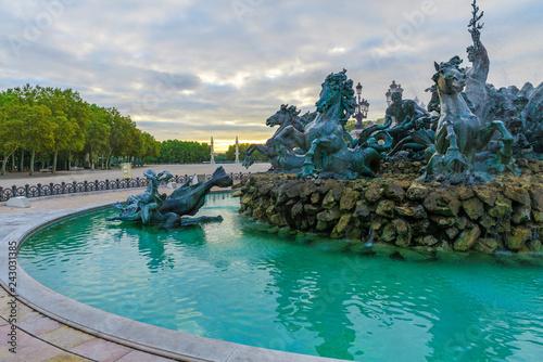 Bordeaux fountain with Girondins Monument column on place des Quinconces, Bordeaux, France