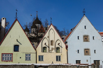 Old town in Europe. Estonia. Medieval house. Cathedral.