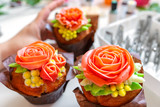 cupcake with rose, from Korean buttercream, dessert - 243034936